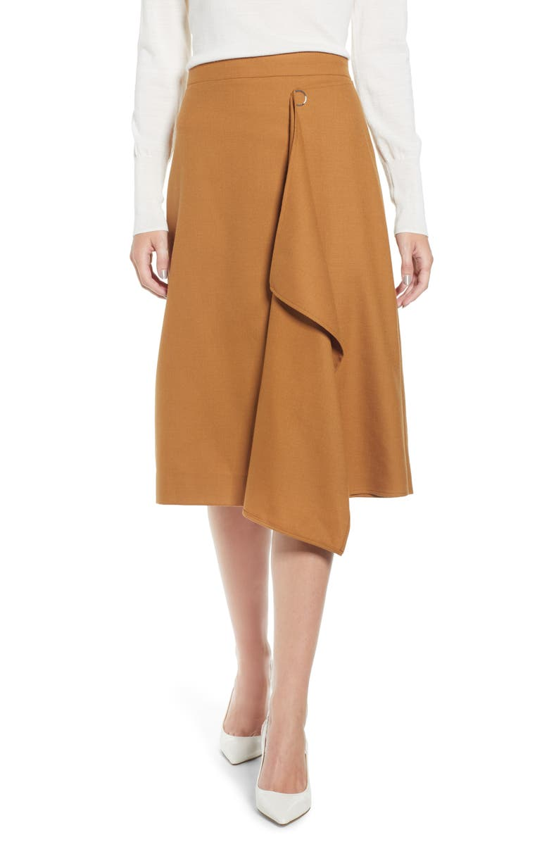 J.CREW Faux Wrap A-Line Skirt, Main, color, 200