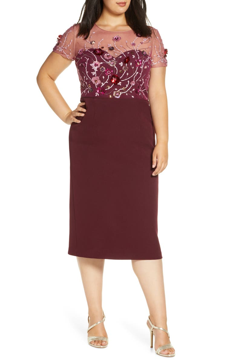 JS COLLECTIONS Sequin Bodice Crepe Cocktail Dress, Main, color, JAM MULTI