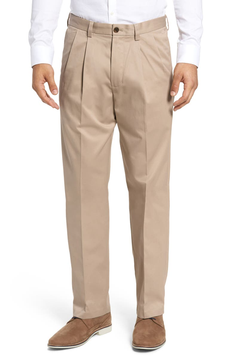 NORDSTROM MEN'S SHOP 'Classic' Smartcare<sup>™</sup> Relaxed Fit Double Pleated Cotton Pants, Main, color, TAN