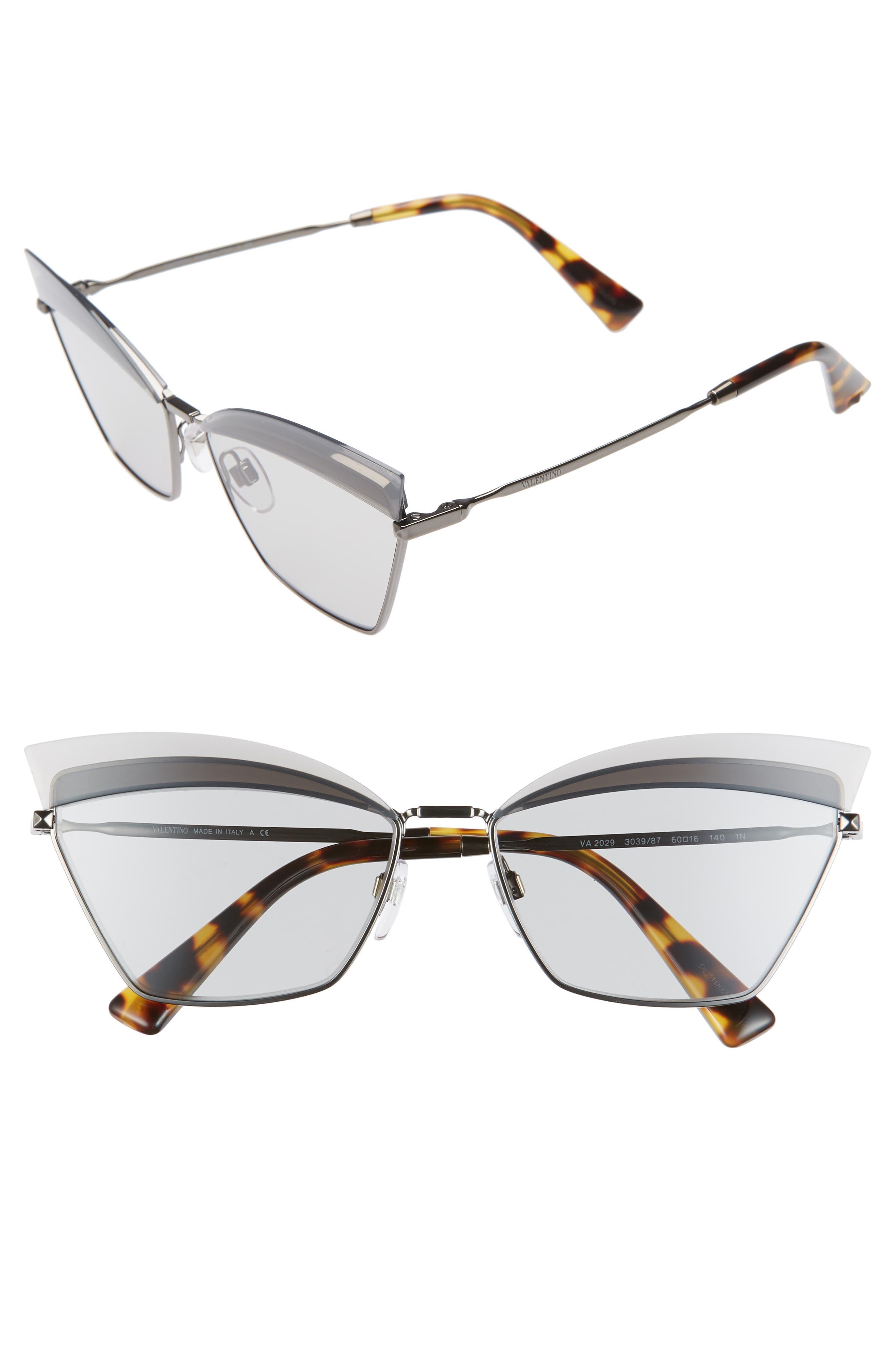 Valentino 60Mm Cat Eye Sunglasses - Dark Grey