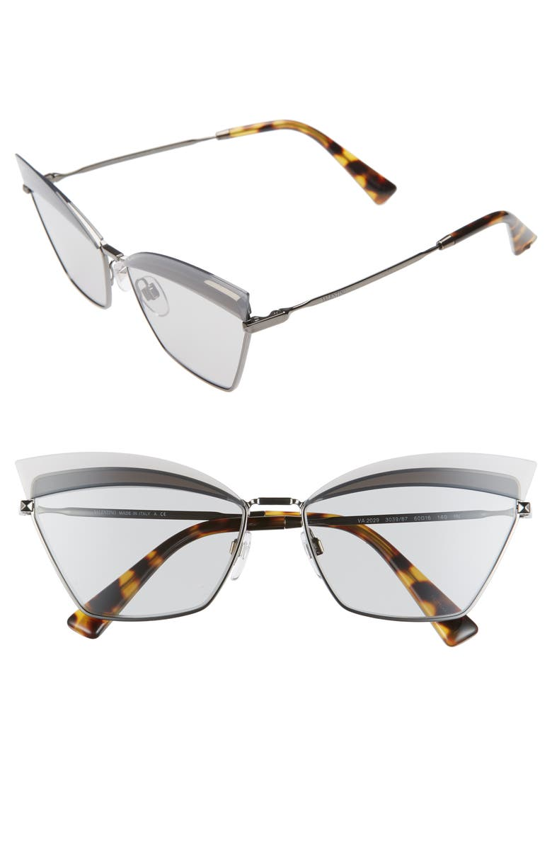 VALENTINO 60mm Cat Eye Sunglasses, Main, color, DARK GREY