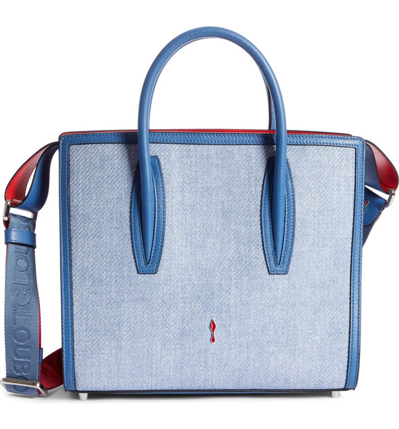CHRISTIAN LOUBOUTIN Medium Paloma Textile & Calfskin Leather Tote, Main, color, JEANS/ JEANS/ JEANS-RED