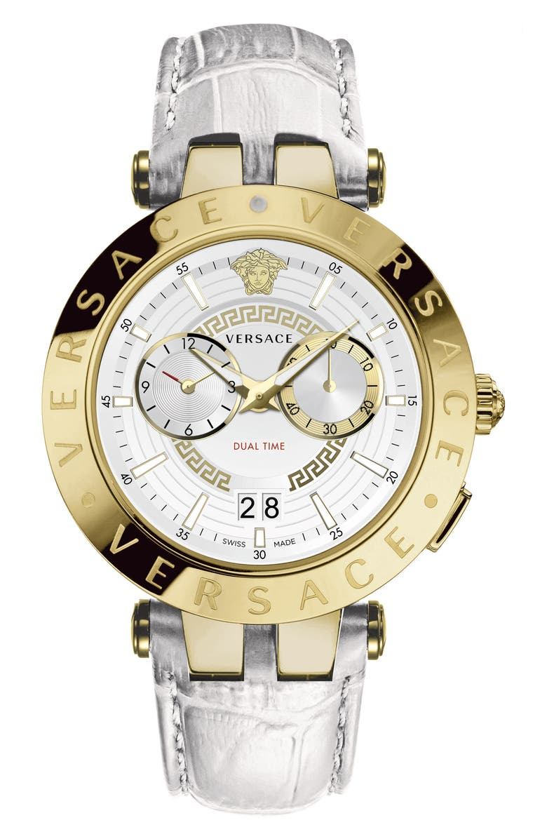 VERSACE V-Race Dual Time Leather Strap Watch, 46mm, Main, color, WHITE/ GOLD