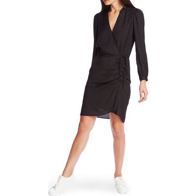 1.state Long Sleeve Shadow Stripe Ruched Dress, Black
