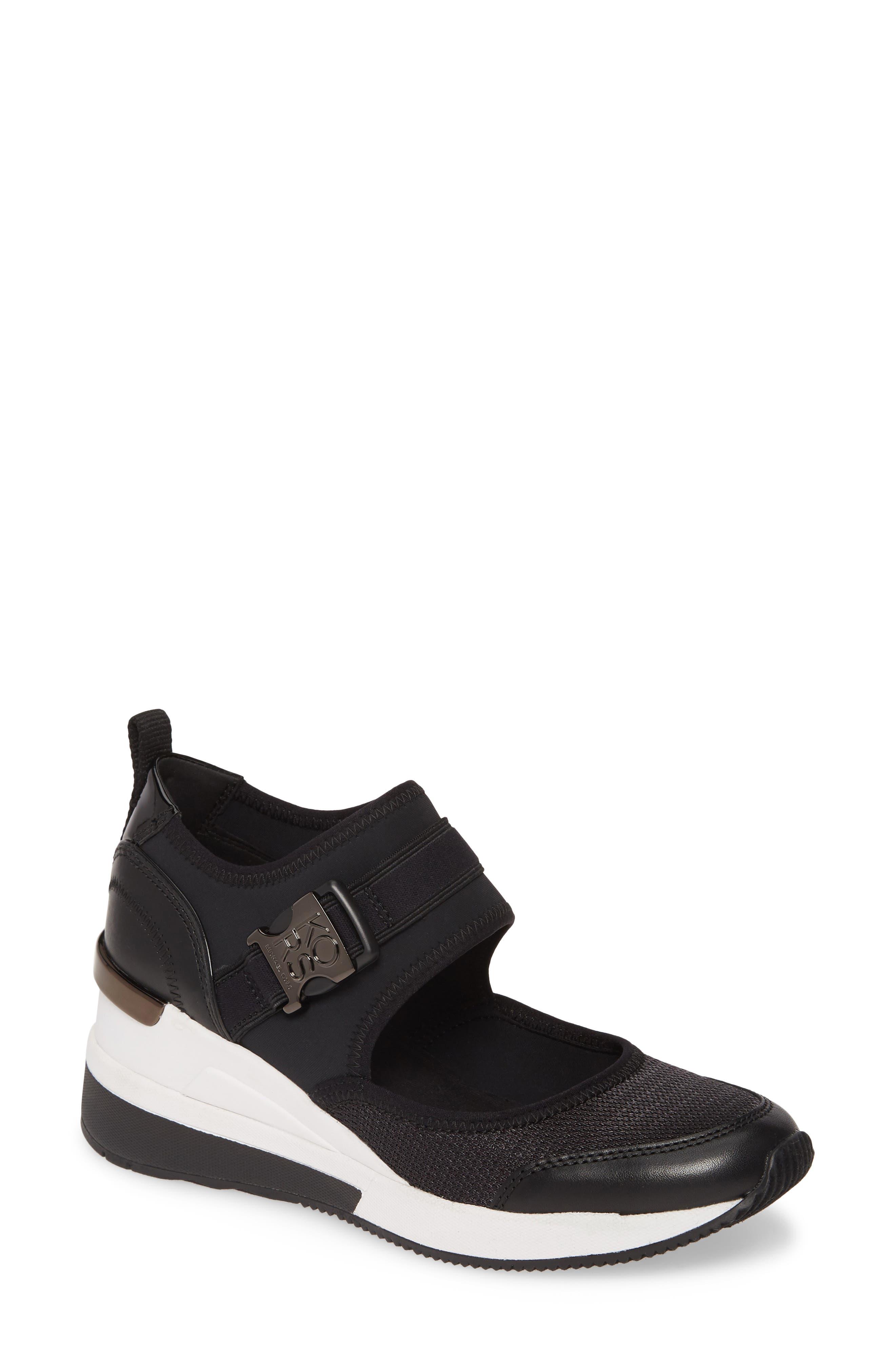 Michael Michael Kors Effie Mary Jane Wedge Sneaker- Black