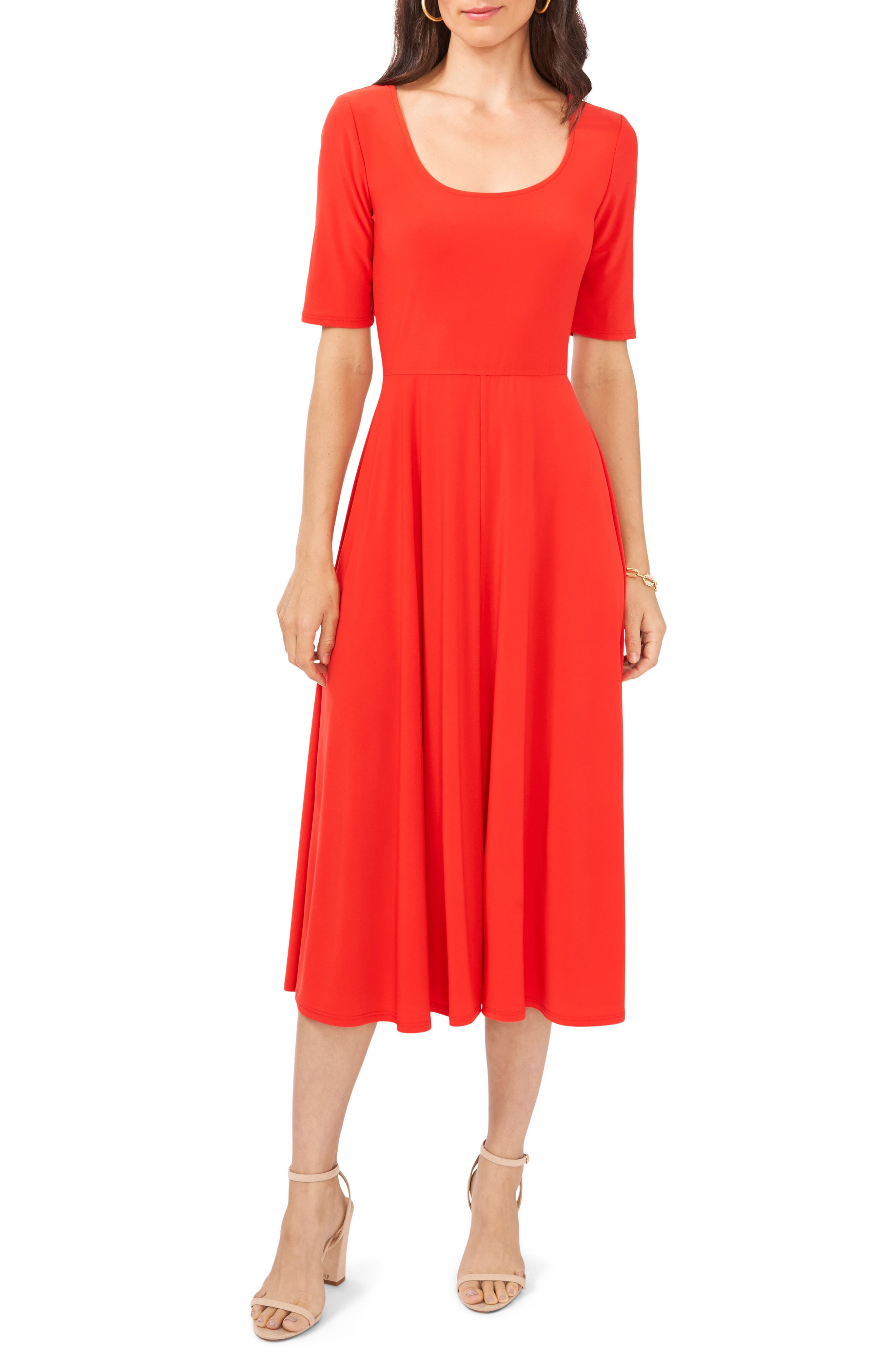 Elbow Sleeve Fit & Flare Knit Dress