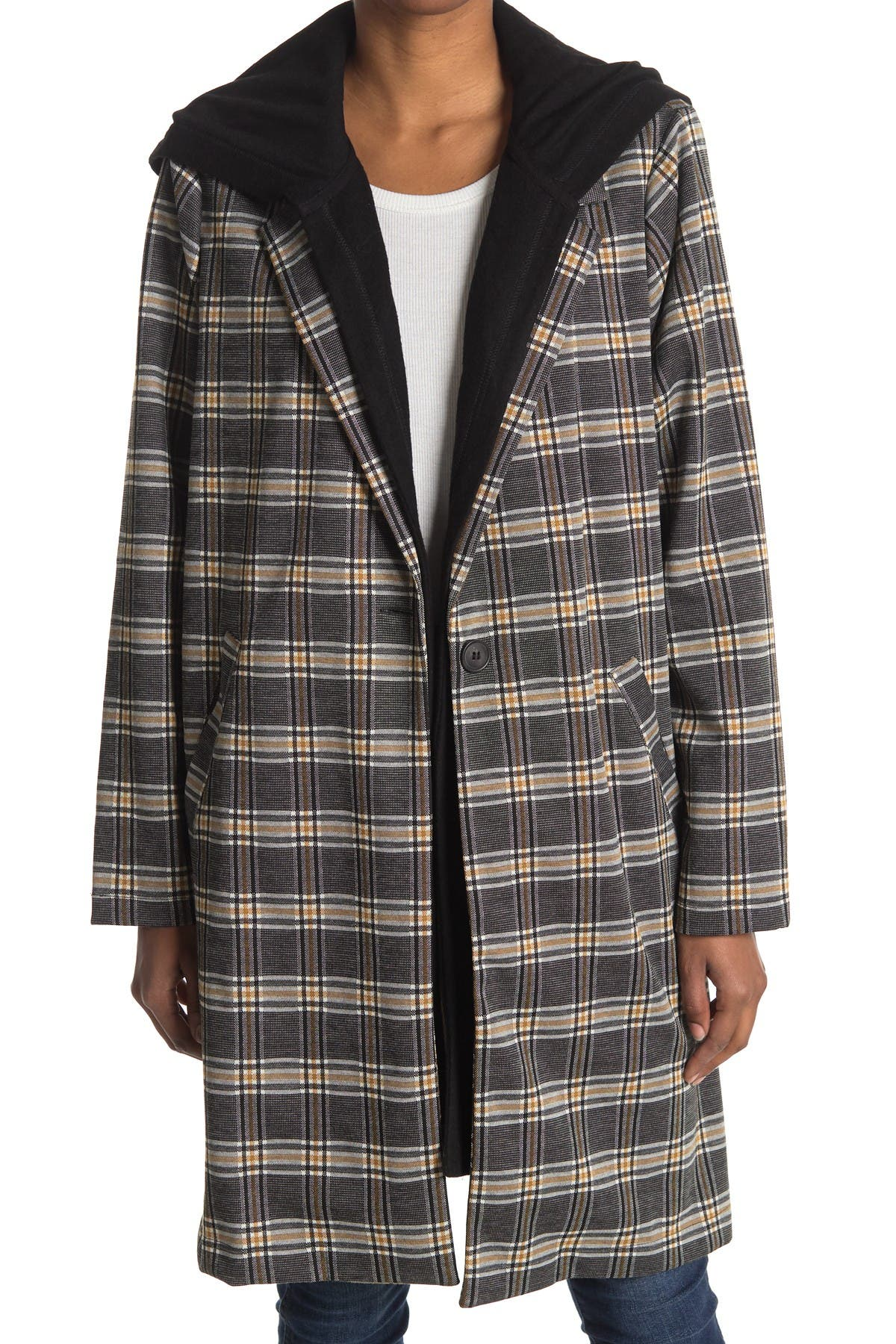 Image of MELLODAY Hooded Plaid Knit Coat