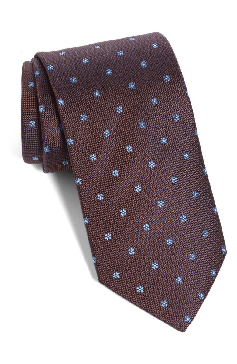 ETON Floral Silk Tie, Main, color, BROWN