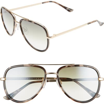 Quay Australia X Jlo All In 52Mm Mini Aviator Sunglasses - Milky Camo/ Green Fade