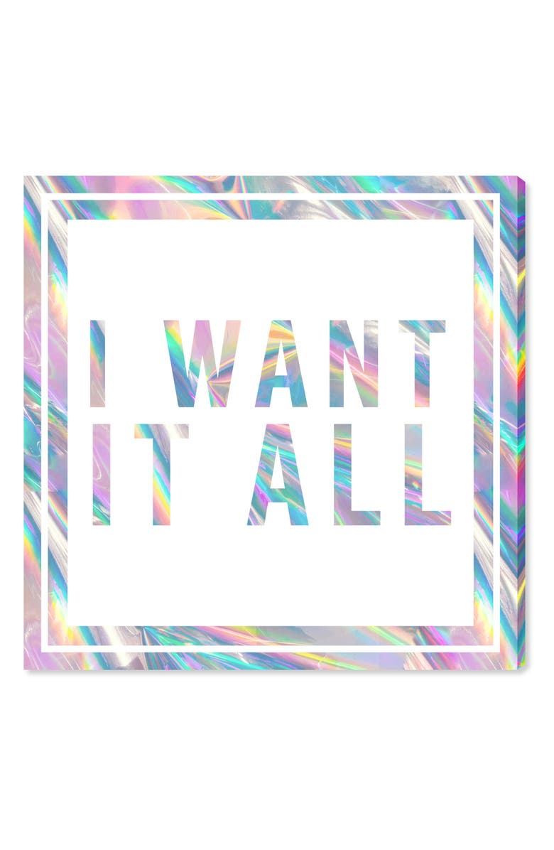 OLIVER GAL I Want It All Canvas Wall Art, Main, color, WHITE