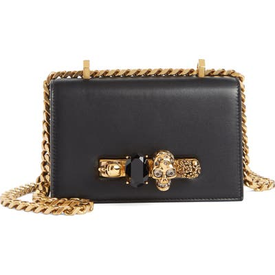 Alexander Mcqueen Mini Jewelled Knuckle Leather Crossbody Bag - Black