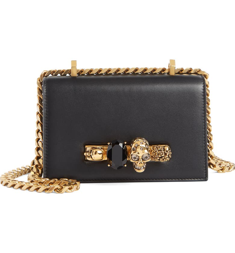 ALEXANDER MCQUEEN Mini Jewelled Knuckle Leather Crossbody Bag, Main, color, BLACK