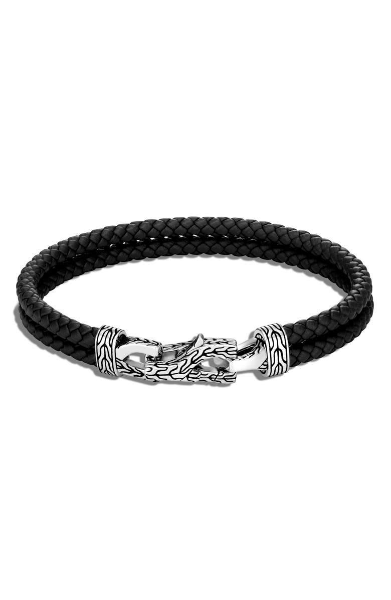 JOHN HARDY Men's Asli Classic Chain Double Woven Leather Bracelet, Main, color, SILVER/ BLACK
