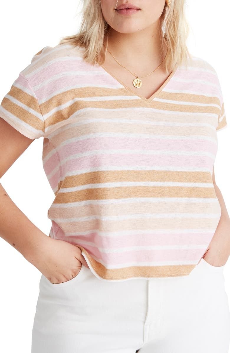 MADEWELL Skyline Stripe V-Neck Tee, Main, color, 650