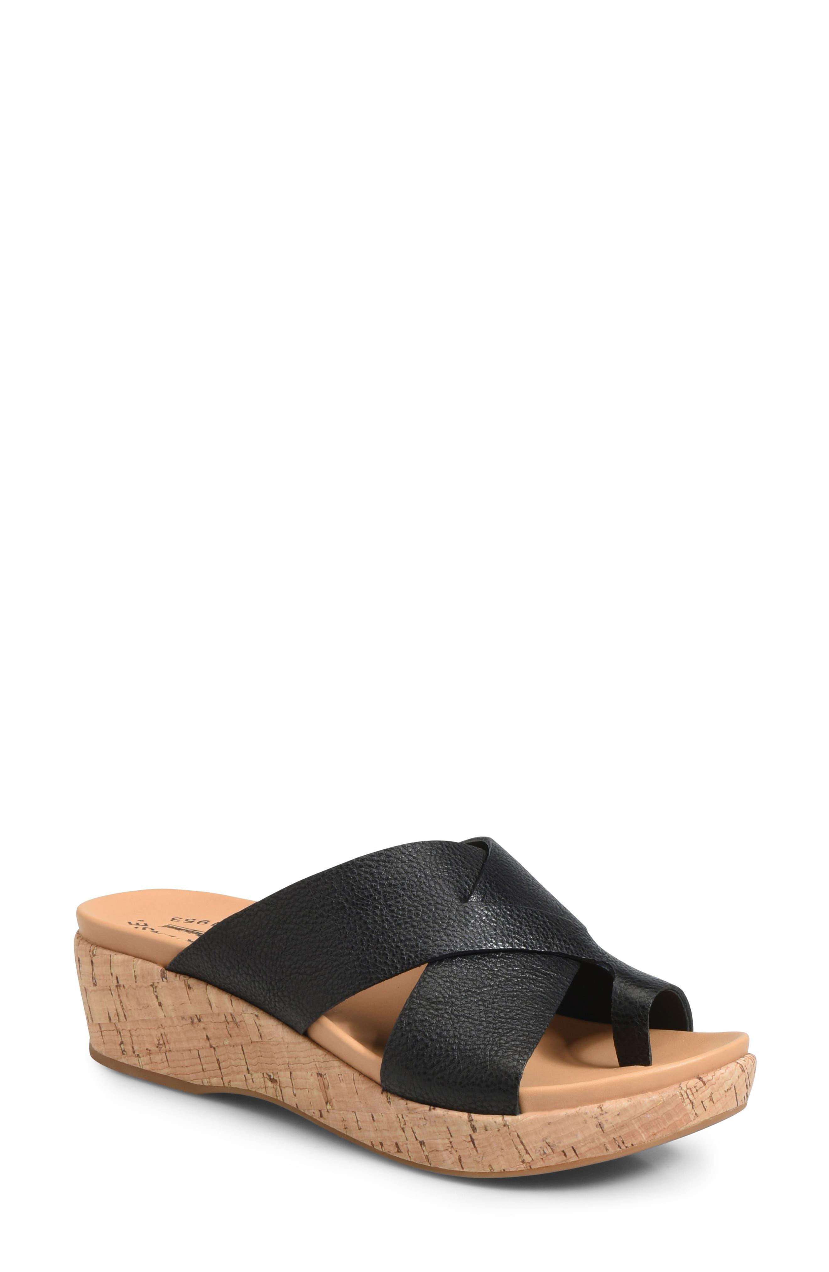 Baja Wedge Slide Sandal, Main, color, BLACK LEATHER