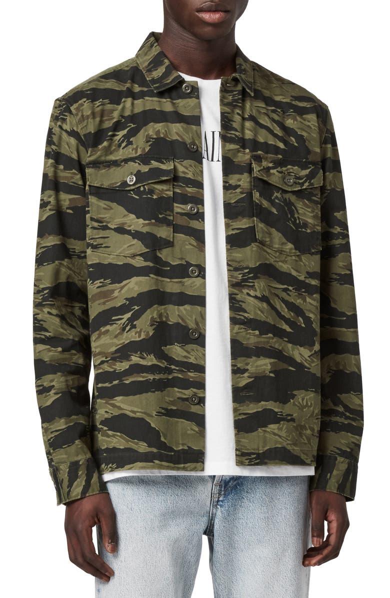 ALLSAINTS Krueger Slim Fit Camo Print Button-Up Shirt, Main, color, 344