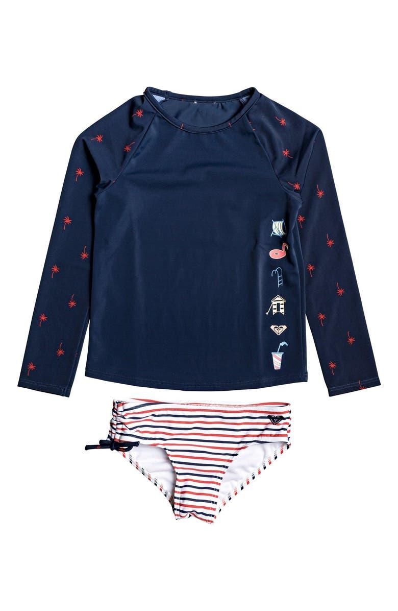 ROXY Chasing Love Two-Piece Rashguard Swimsuit, Main, color, 401