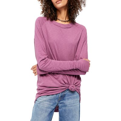Free People Arden Extra Long Cotton Top, Purple
