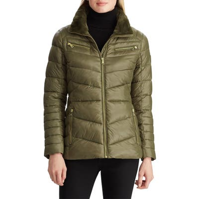 Lauren Ralph Lauren Faux Fur Trim Quilted Hooded Down & Feather Jacket, Green