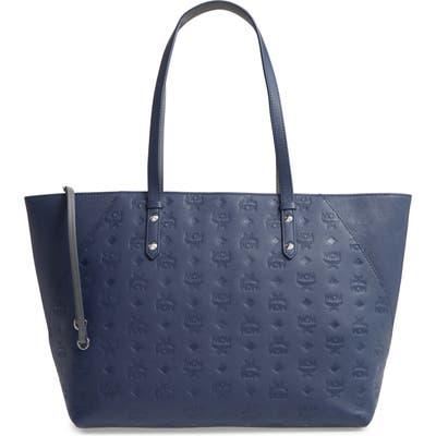 Mcm Medium Klara Monogram Leather Shopper - Blue