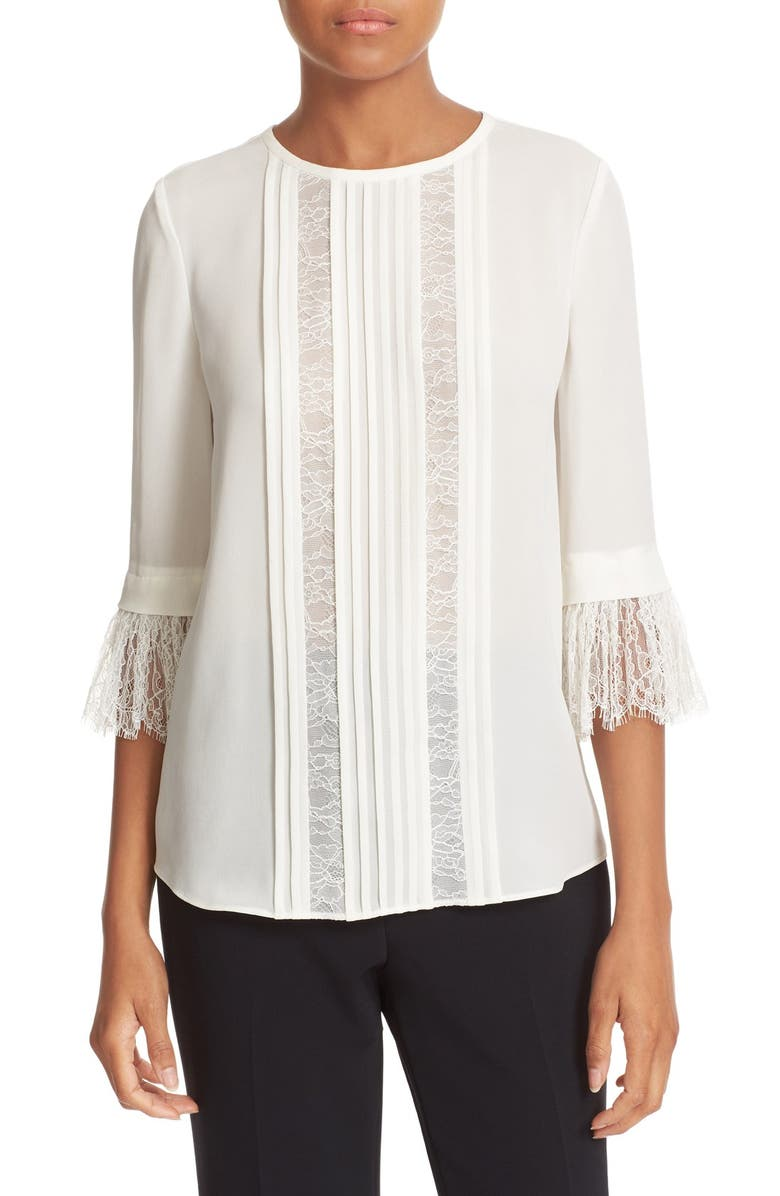 KATE SPADE NEW YORK lace inset silk top, Main, color, 906