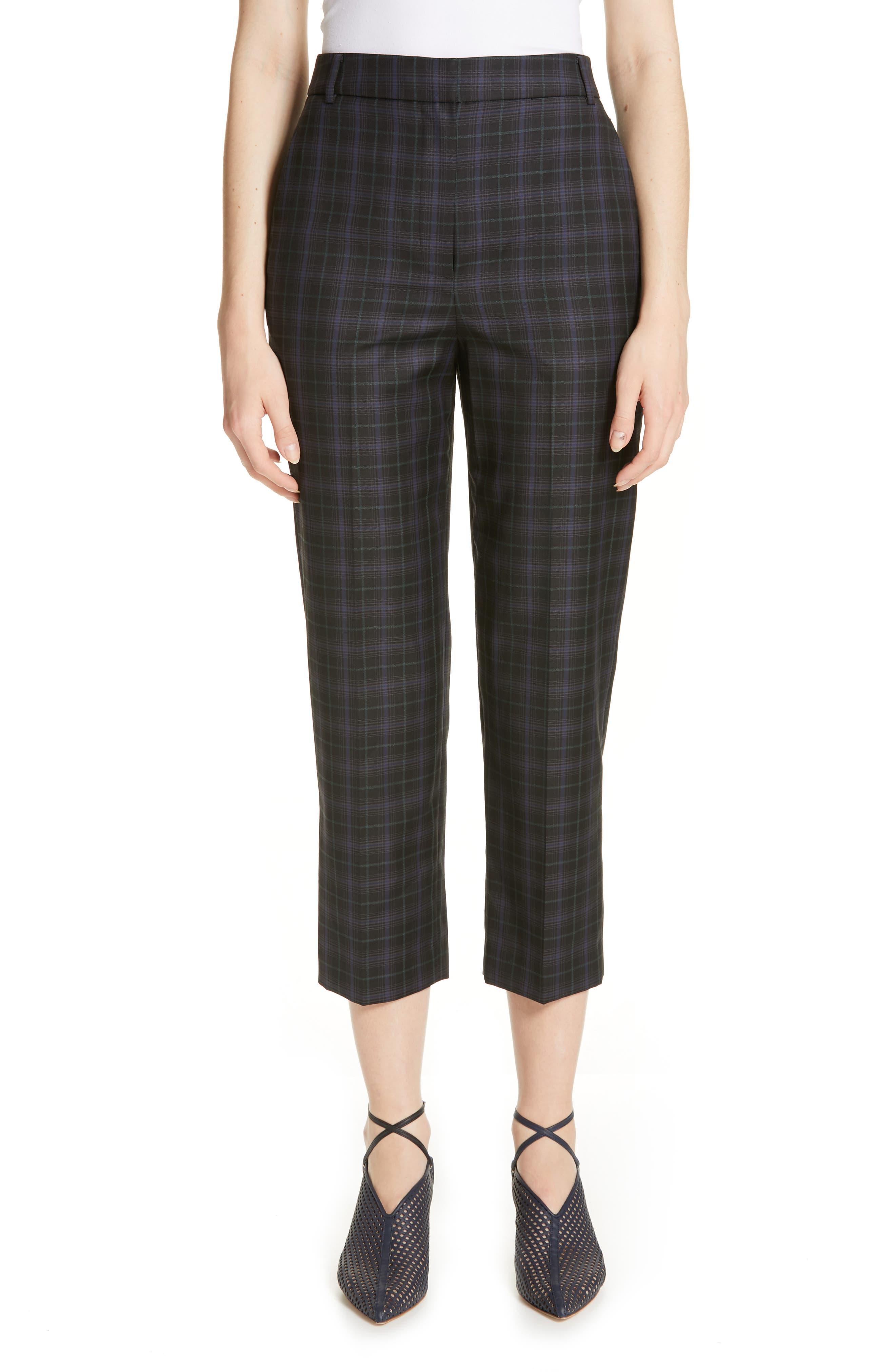 Taylor Marvel Plaid Crop Pants, Main, color, BLACK MULTI