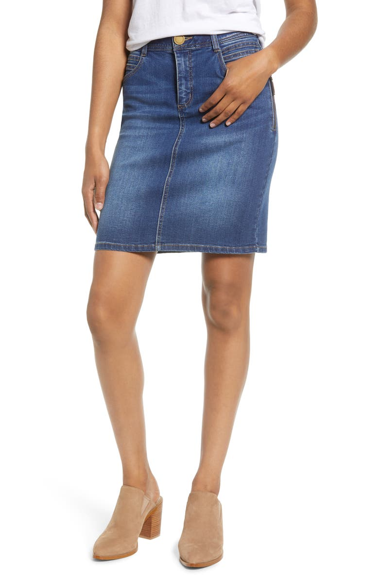 WIT & WISDOM Side Zip Denim Skirt, Main, color, BLUE