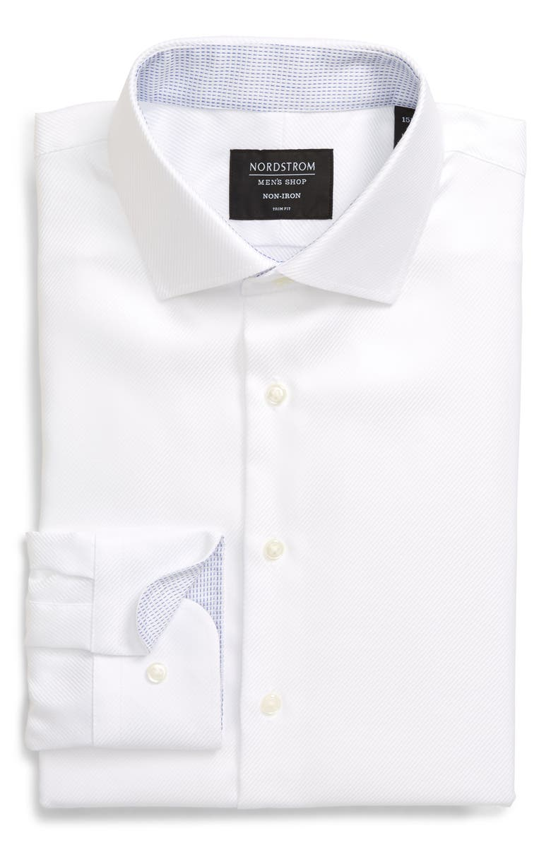 NORDSTROM MEN'S SHOP Trim Fit Non-Iron Solid Dress Shirt, Main, color, WHITE