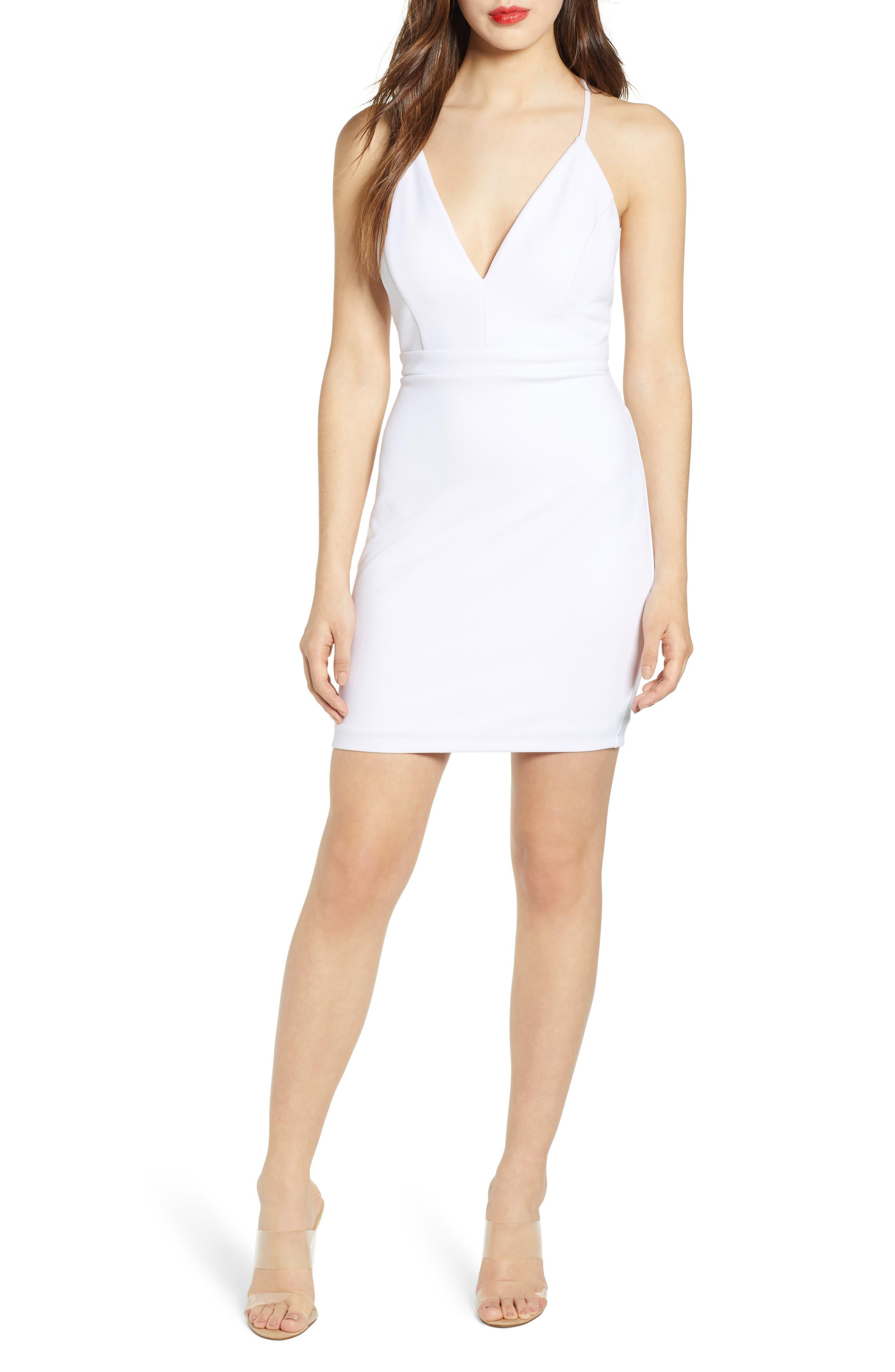 Love, Nickie Lew Illusion Detail Body-Con Dress, White