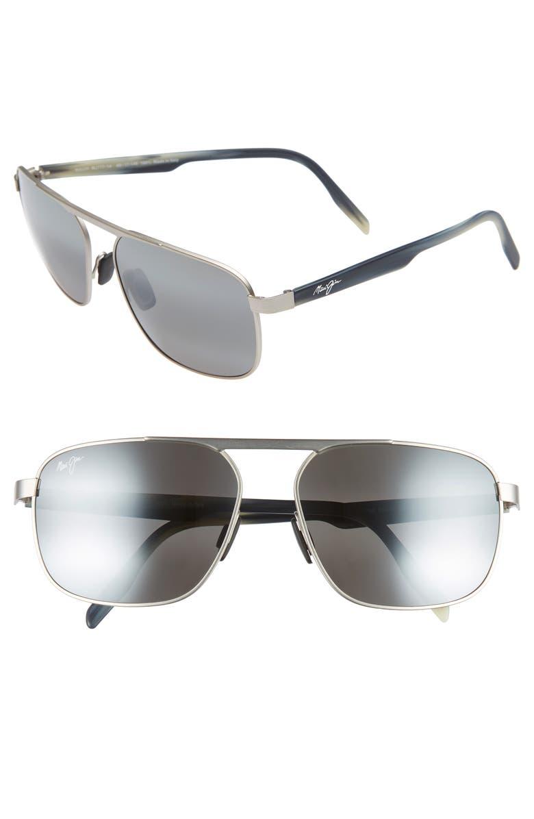 MAUI JIM Waihe'e Ridge 60mm Polarized Sunglasses, Main, color, BRUSHED GREY/ NEUTRAL GREY