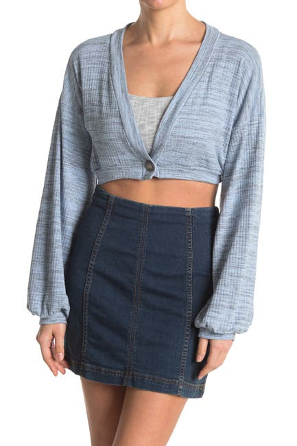 Image of Know One Cares Cropped One Button Space Dyes Cardigan