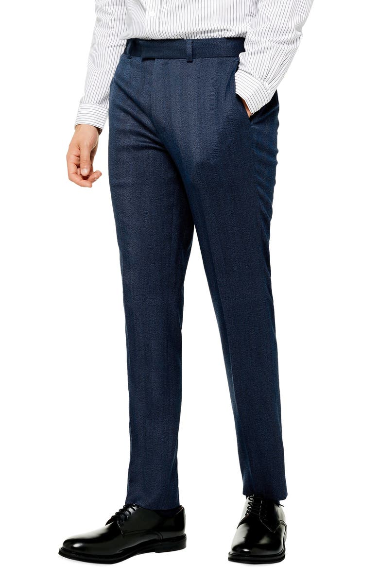 TOPMAN Classic Fit Herringbone Dress Pants, Main, color, NAVY BLUE