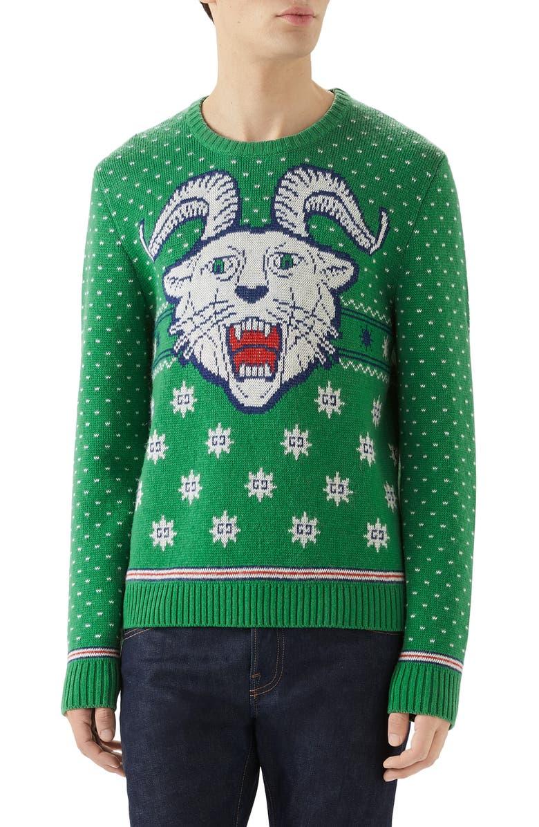 GUCCI Crewneck Intarsia Wool & Alpaca Sweater, Main, color, YARD