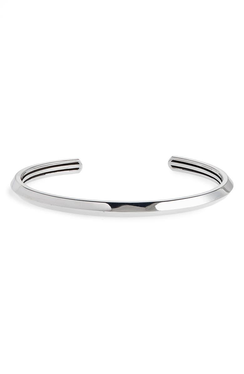 ROOM101 Inner Stripe Cuff Bracelet, Main, color, SILVER
