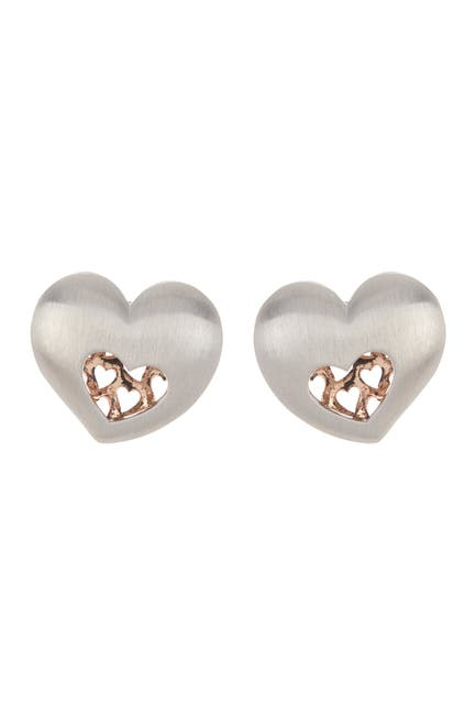 Image of BREUNING Two-Tone Sterling Silver Heart Stud Earrings
