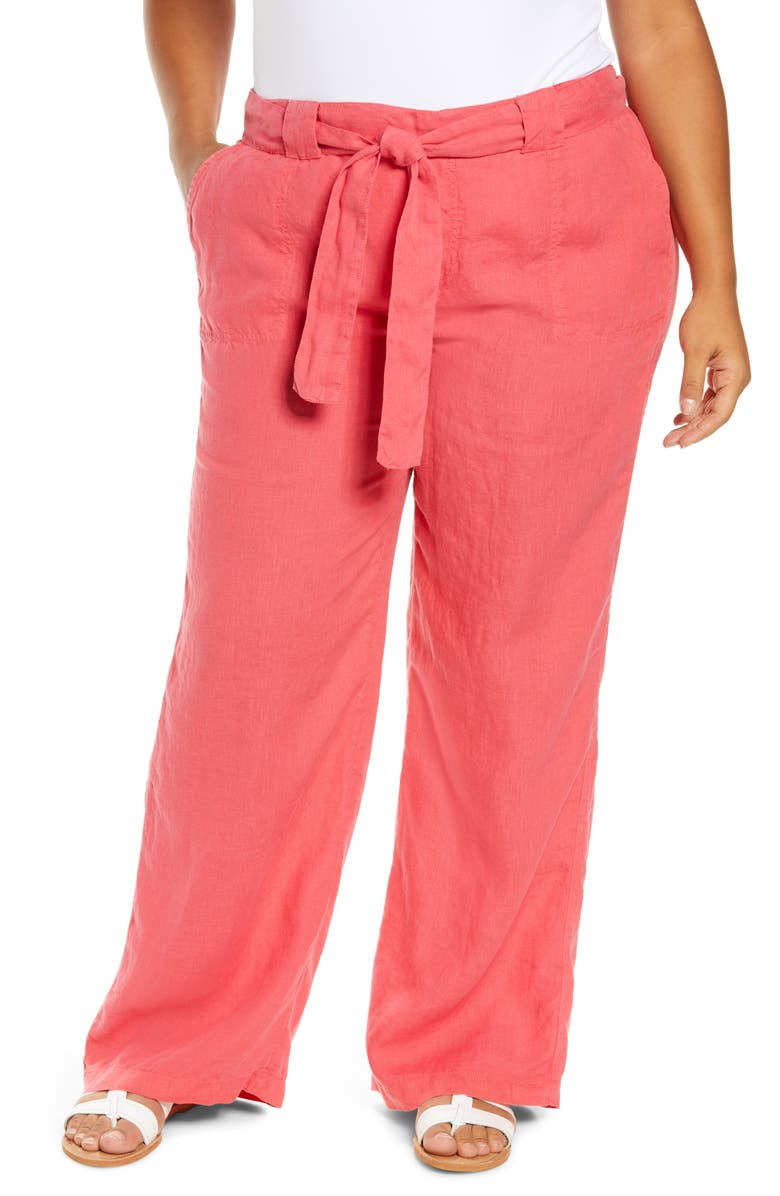 CASLON<SUP>®</SUP> New Belted Linen Pants, Main, color, RED CHATEAUX