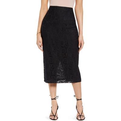 Petite Halogen Lace Pencil Skirt, Black