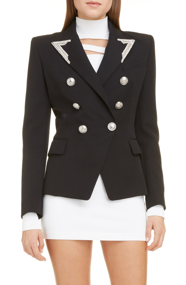 BALMAIN Embellished Double Breasted Wool Blazer, Main, color, 0PA NOIR