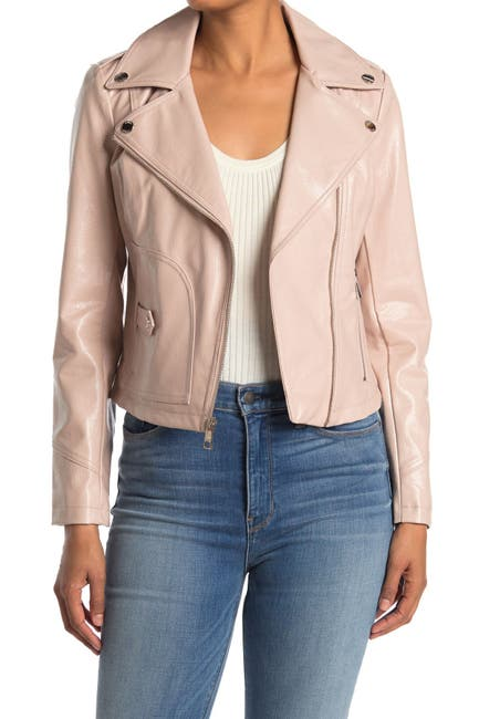 Image of GUESS Faux Leather Crop Moto Jacket