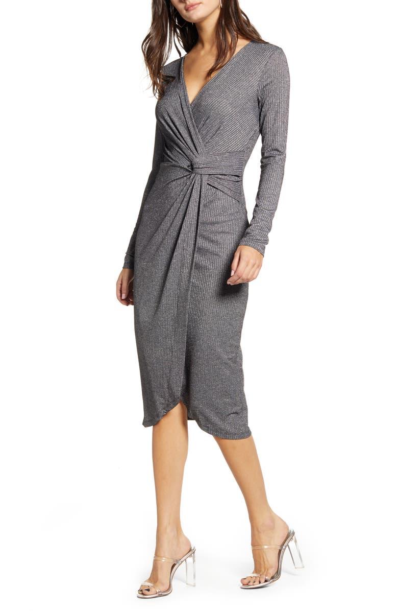 ROW A Rib Long Sleeve Midi Dress, Main, color, 040