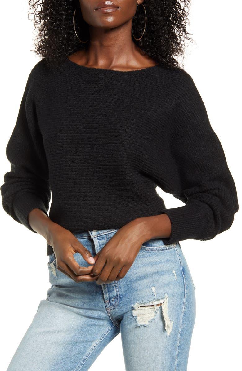 LEITH Dolman Sleeve Pullover, Main, color, BLACK