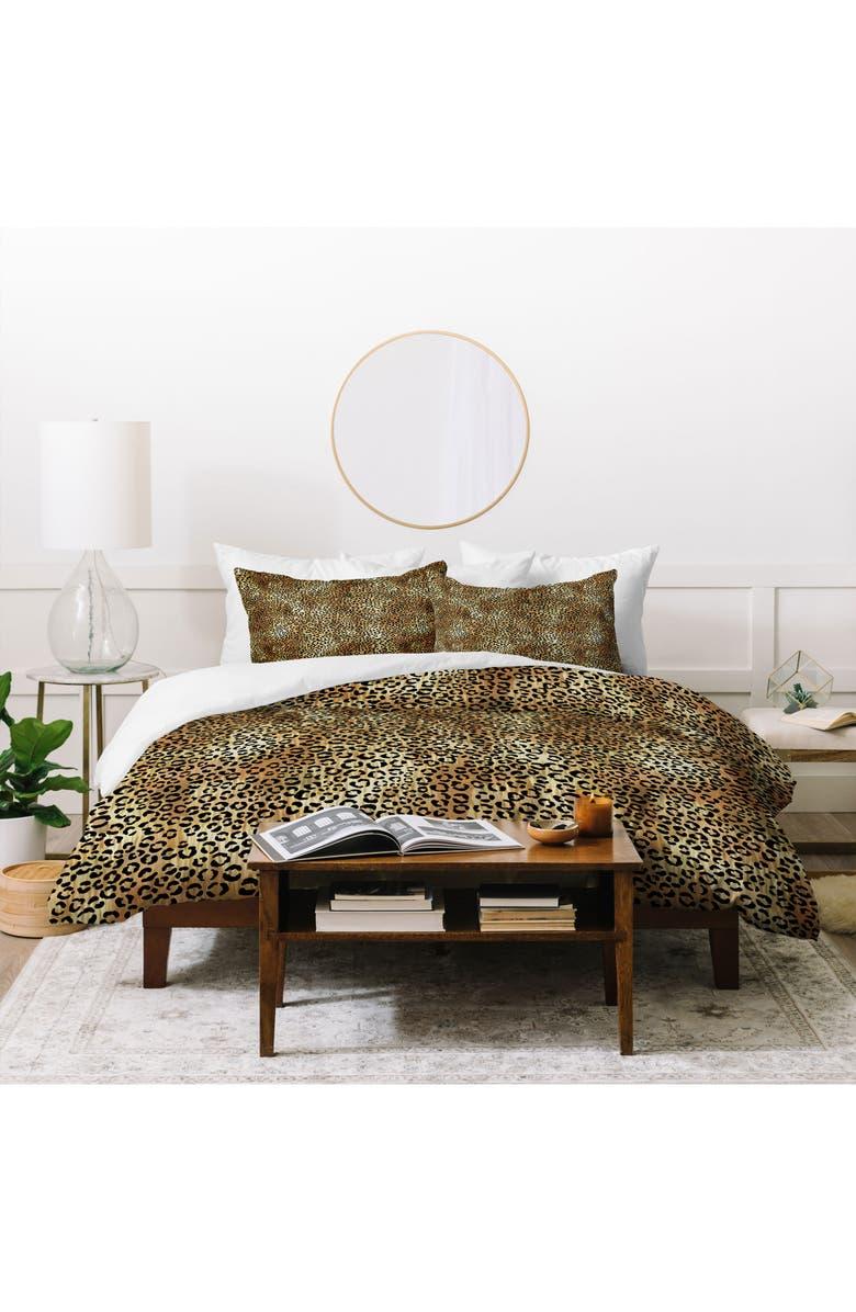 DENY DESIGNS Schatzi Leopard Duvet Cover & Sham Set, Main, color, BROWN
