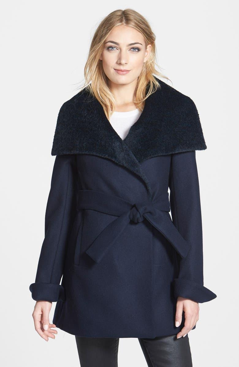 TRINA TURK 'New Jane' Wool & Alpaca Blend Trim Wrap Coat, Main, color, 410
