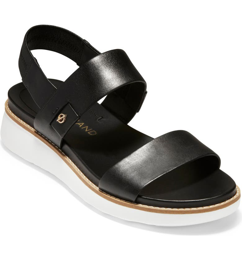 COLE HAAN ZeroGrand Double Band Sandal, Main, color, BLACK/ OPTIC WHITE LEATHER