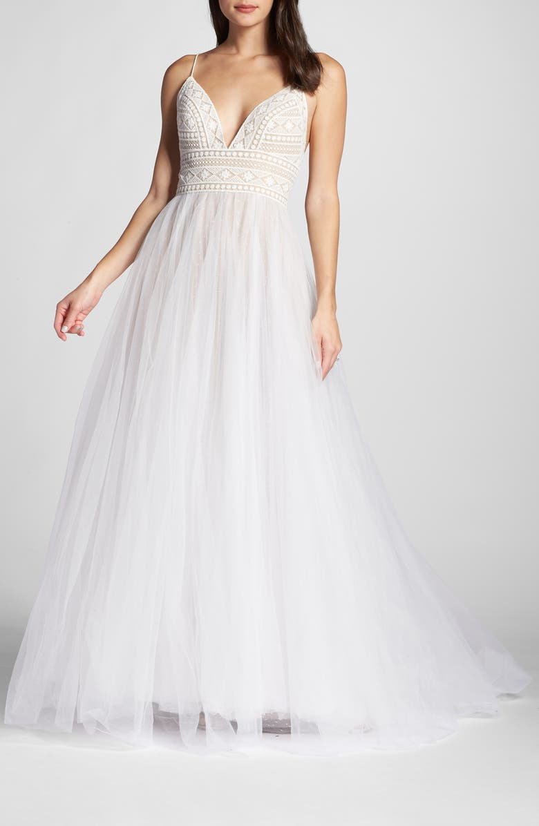 WILLOWBY Thistle Tulle Ballgown, Main, color, IVORY/ BRONZE