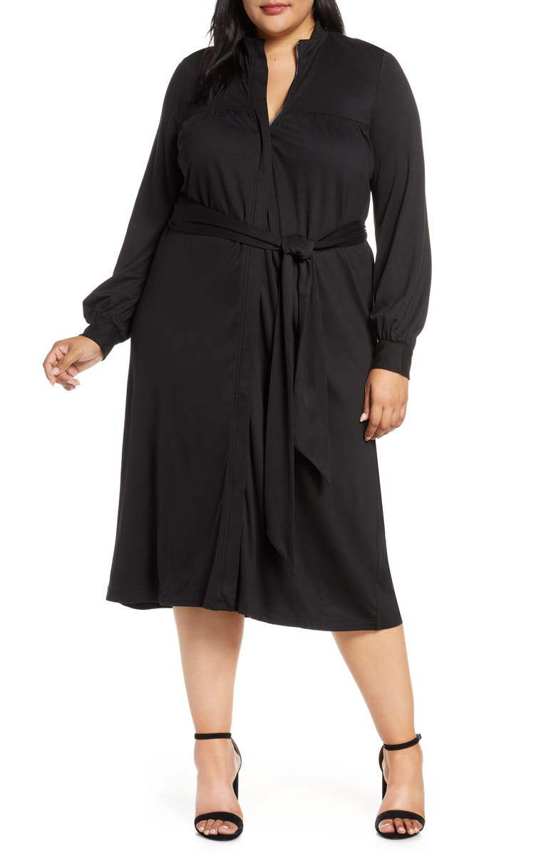 ELOQUII Long Sleeve Shirtdress, Main, color, BLACK