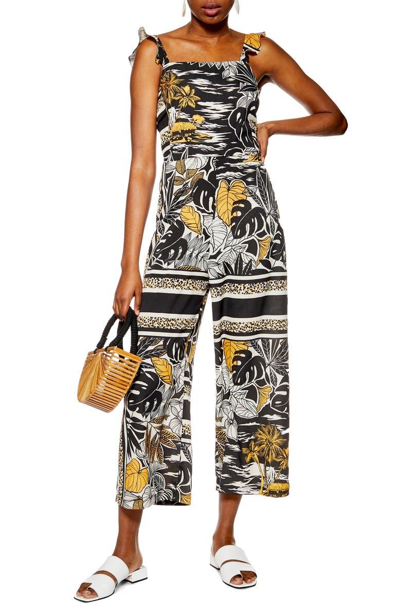 TOPSHOP Sleeveless Island Print Jumpsuit, Main, color, BLACK MULTI