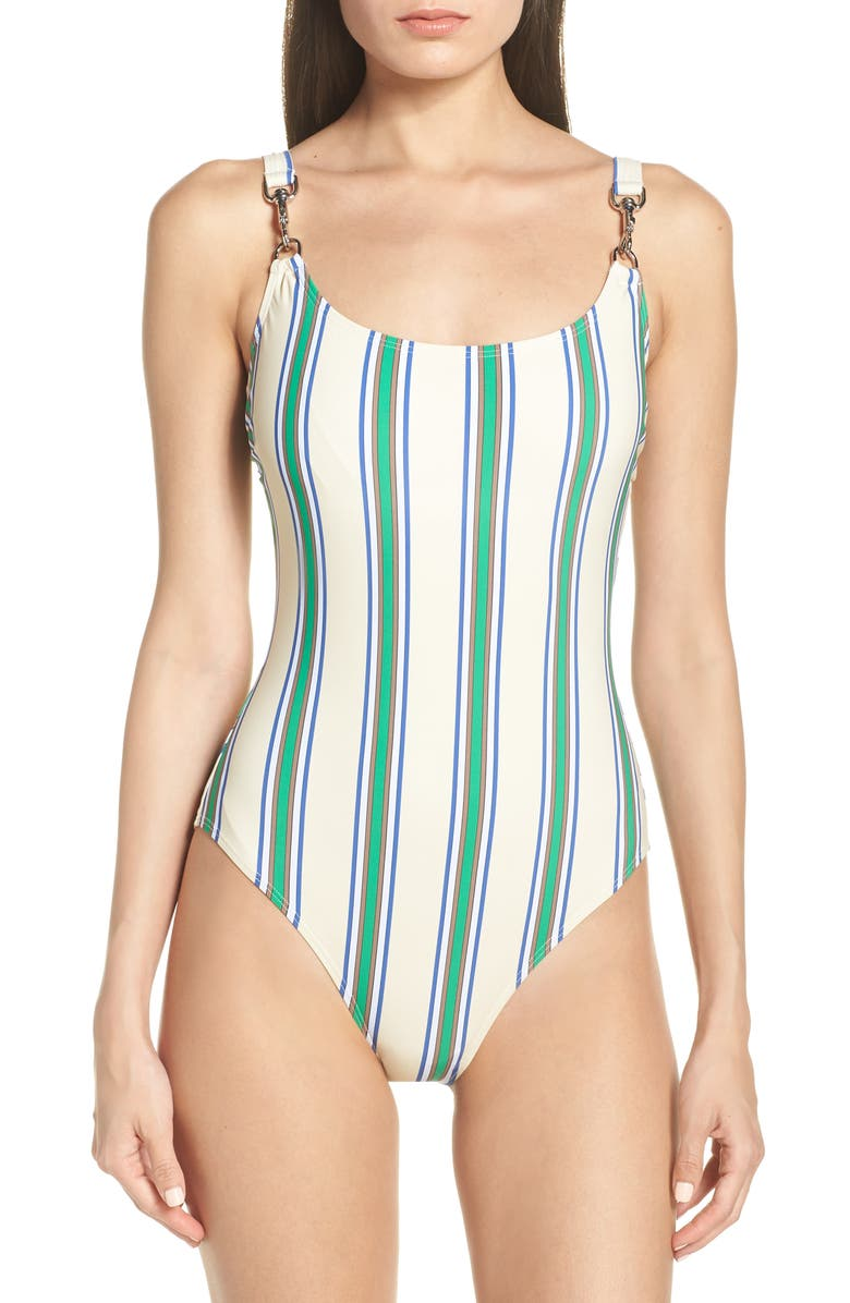 TORY BURCH Stripe Clip Tank One-Piece Swimsuit, Main, color, GRAND AWNING STRIPE