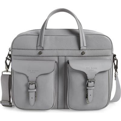 Ted Baker London Forsee Leather Document Bag - Grey