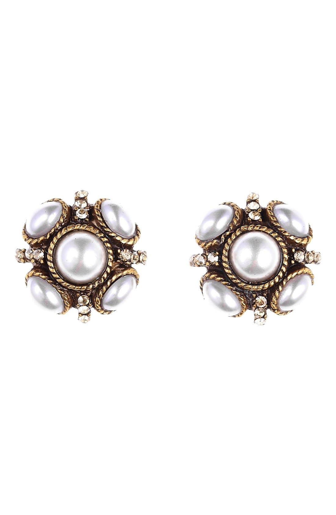 'Classic Button' Stud Earrings, Main, color, PEARL